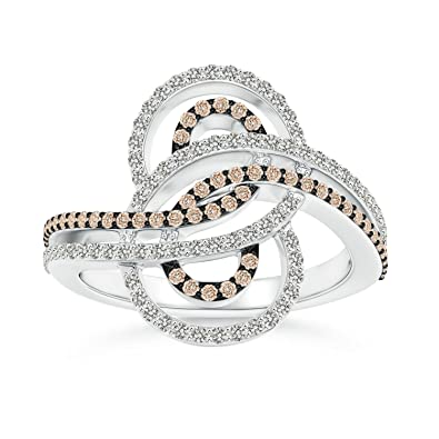Angara Encrusted Brown and White Diamond Infinity Knot Ring CSiXknlz