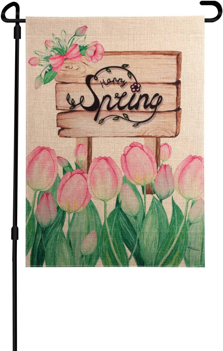 TJ.MOREE Happy Spring Garden Flag Beautiful Spring Burlap Flag, Vertical Double Sided Tulip and Wooden Slogan, Home Yard Patio Lawn Outdoor Decor, 12.5 x 18 Inch