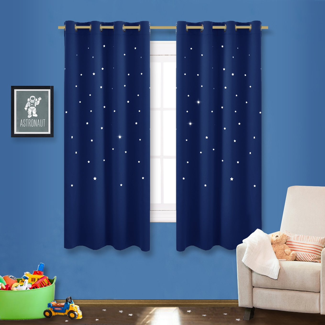 NICETOWN Space Inspired Night Sky Twinkle Star Kid's Room Curtain, Creative Blackout Window Curtain for Bedroom (1 Panel