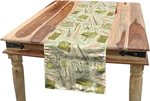 Amazon Com Ambesonne Jazz Music Table Runner Doodle Different Instruments Entertainment Band Equipment Drawing Dining Room Kitchen Rectangular Runner 16 X 120 Blush Khaki And Beige Home Kitchen