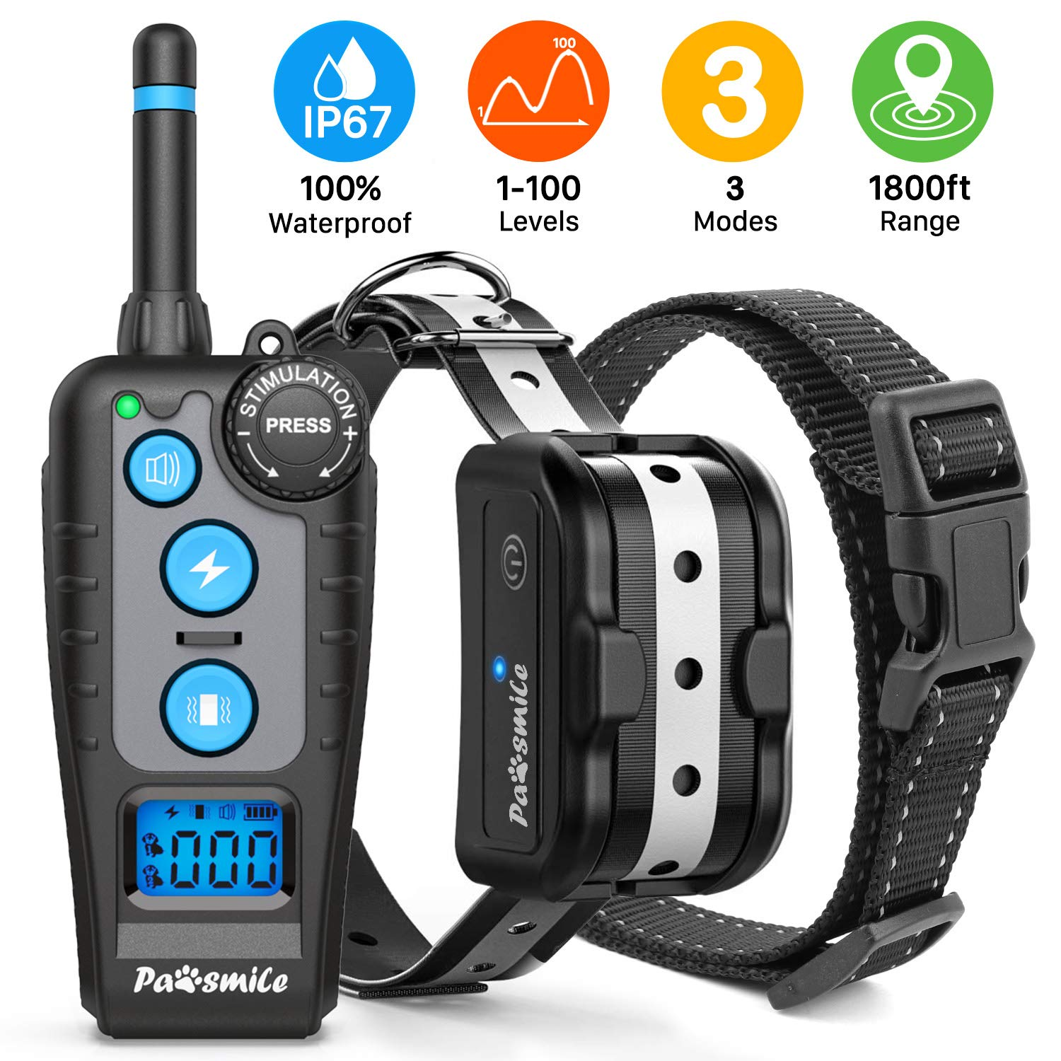 Dog Training Collar with Remote, Rechargeable Dog Shock Collar with 3 Training Modes, Beep, Vibration and Shock 1-100 Levels, 100% Waterproof 1800ft Shock Collar for Dogs Small, Medium and Large Size by Pawsmile