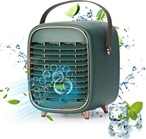 Portable Air Conditioner Fan, Rechargeable Personal Evaporative Cordless Air Cooler Battery Powered Desk Fan with Handle, Desk Misting Fan with 3 Speeds for Small Room Office Dorm and Outdoor(Green)