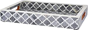 Handicrafts Home Moorish Moroccan Pattern Inspired Trays – Ideal Ottoman Tray – Multipurpose Bone Inlay Serving Tray or Simply Use as a Decorative Trays (12x8 Inches, Grey)