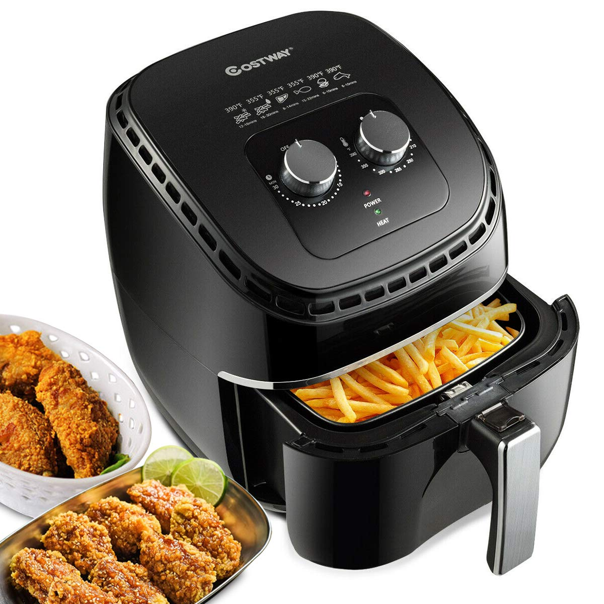 COSTWAY Air Fryer 3.5Qt 1300W Electric Hot Oil-Less Oven Cooker, UL Cretified, Dishwasher Safe, with Smart Time&Temperature Control, Non Stick Fry Basket, Auto Shut Off (Black)