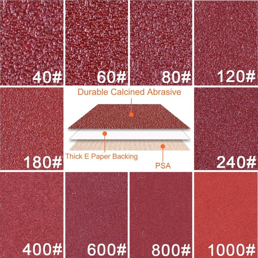 GeBot 100PCS 5-Inch NO-Hole PSA Aluminum Oxide Sanding Disc Self Stick Assorted 40//60// 80//120// 180//240// 400//600// 800//1000 Grits 5 Inch