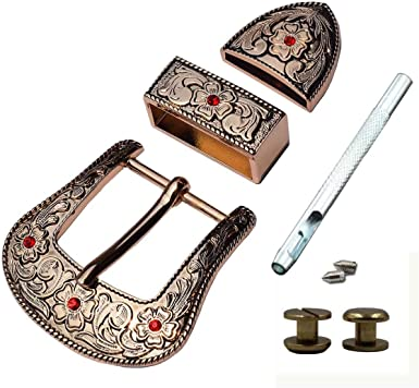 """1 1//2/"""" Hand Engraved Silver /& Gold Buckle Set w// Longhorn Antique finish Stars"""