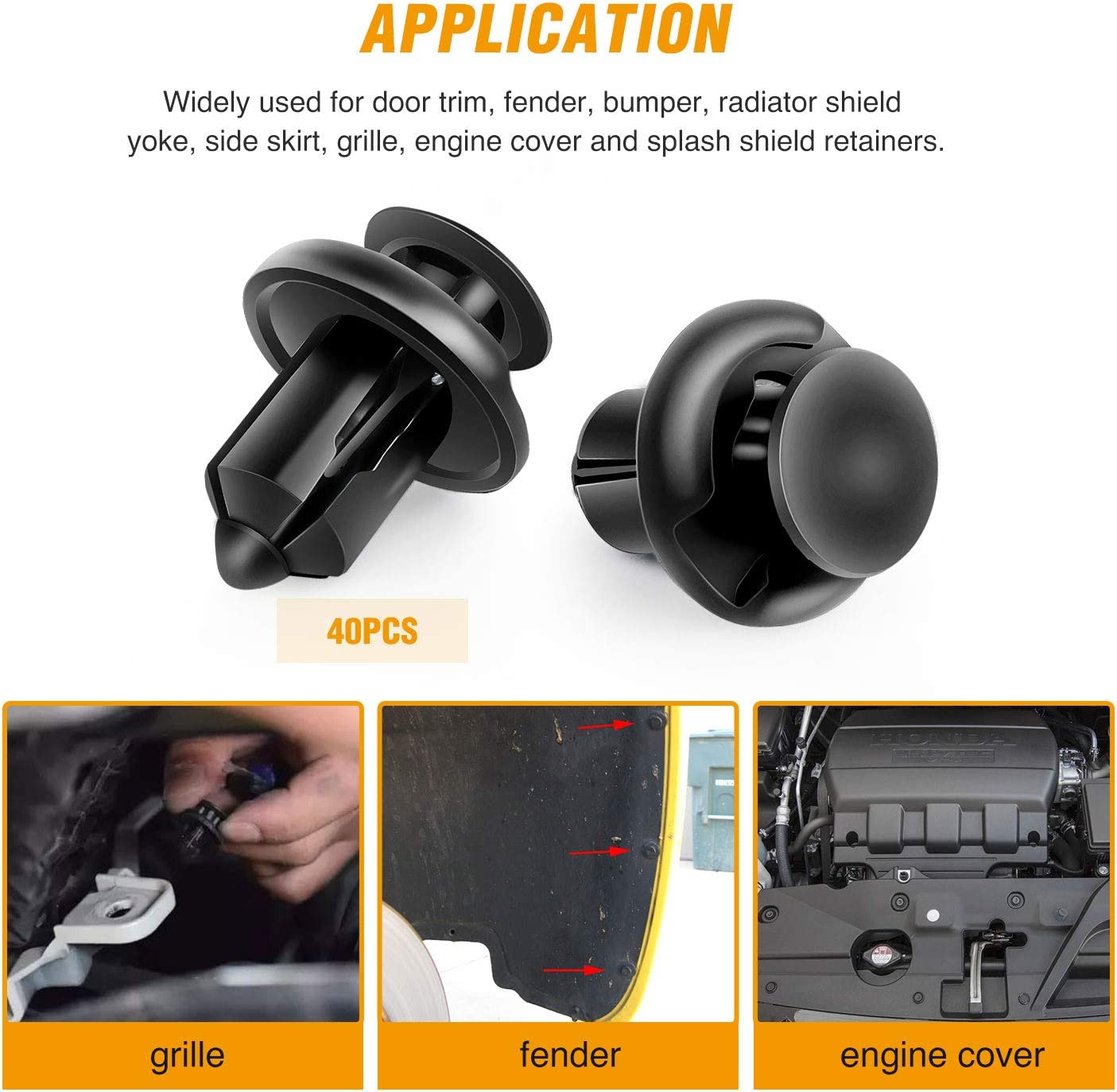 40x Universal POM Push Retainer Pin Body Bumper Rivet Trim Moulding Clip Useful