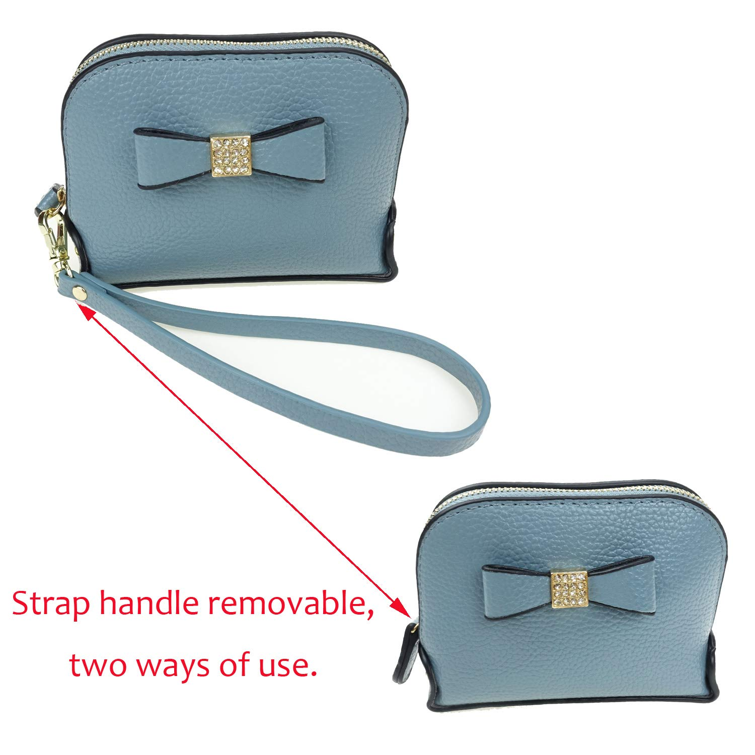 Coin Purse Wallet leather Wristlet Handbags with Wrist Strap Cute Mini Designer Pouch Great Gifts for Women Girls (Bow Blue) by JZE (Image #8)