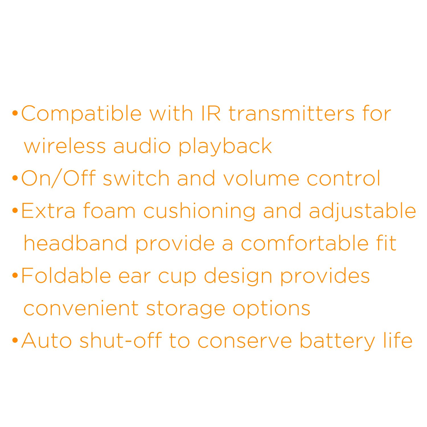 XO Vision IR620 Universal IR Infrared Wireless Foldable Headphones for In-Car TV, DVD, & Video Listening by XO Vision