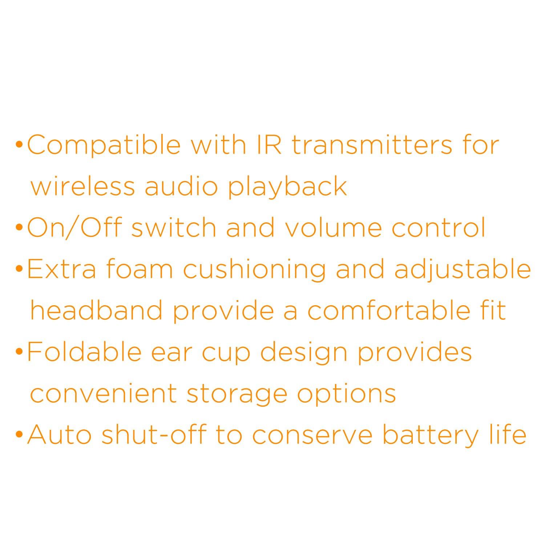 XO Vision Universal IR in Car Entertainment Wireless Foldable Headphones, Black