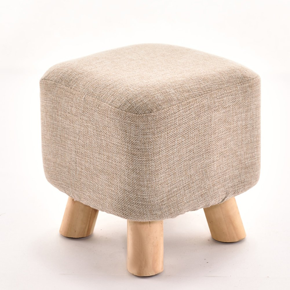 D&L Solid wood Square Seat Stool,Ottoman Pouffe Footstool Fabric Cover 4 legs And Removable Linen Cover-gray L28xW28xH28.5cm