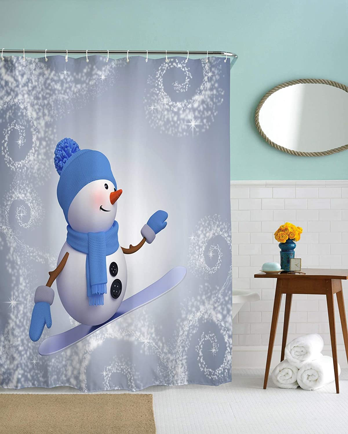 Christmas Shower Curtain Decorations Collection,Winter Holiday Xmas Themed House Decor New Year Ornaments, Polyester Fabric Bathroom Bath Curtain Set with Hooks (Blue Surfing Snowmen, 60 X 72) 60 X 72) HY