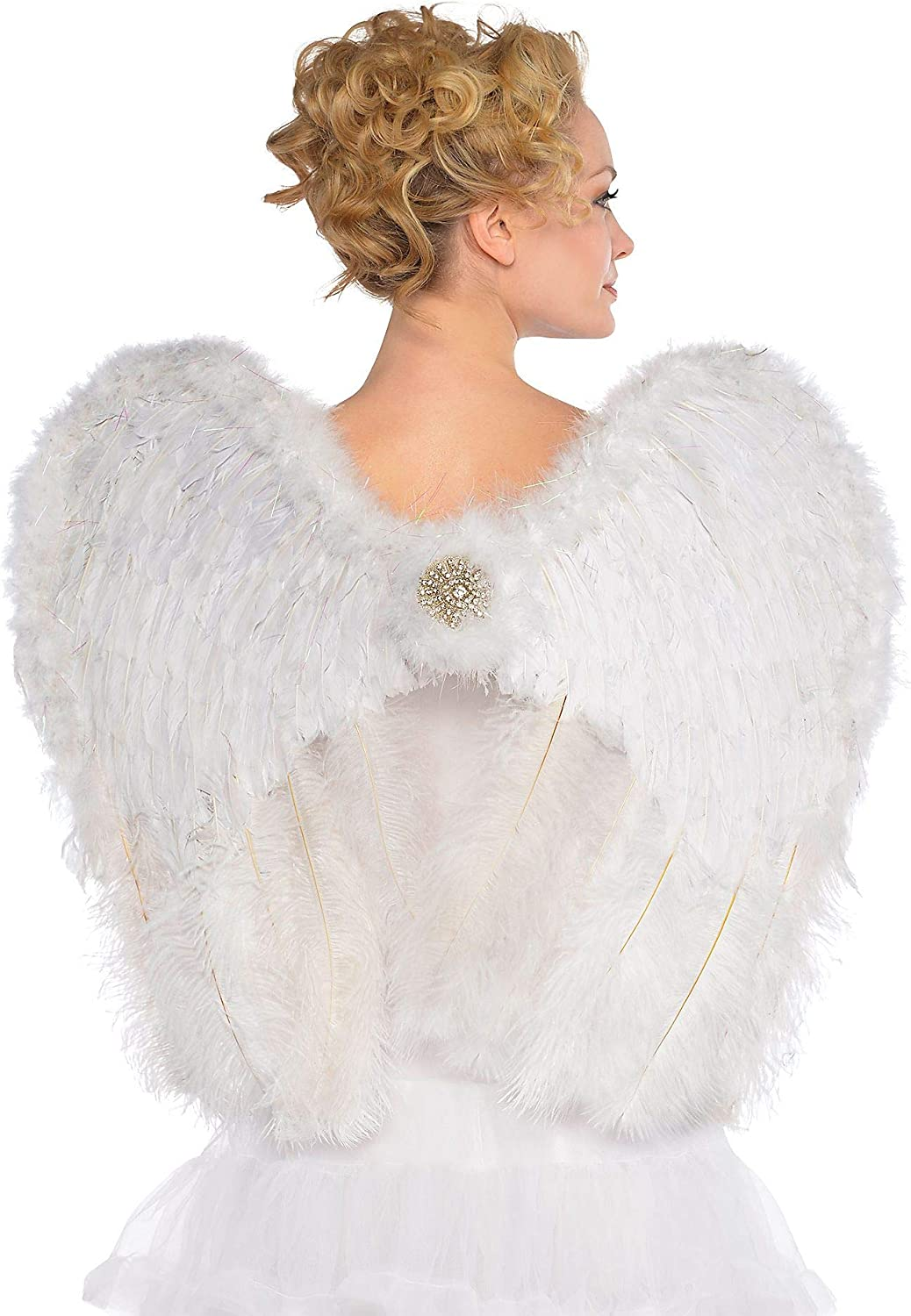 AMSCAN Deluxe Feather Angel Wings Halloween Costume Accessories for Adults, One Size