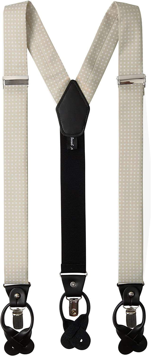Champagne Jacob Alexander Mens Polka Dot Y-Back Suspenders Braces Convertible Leather Ends and Clips