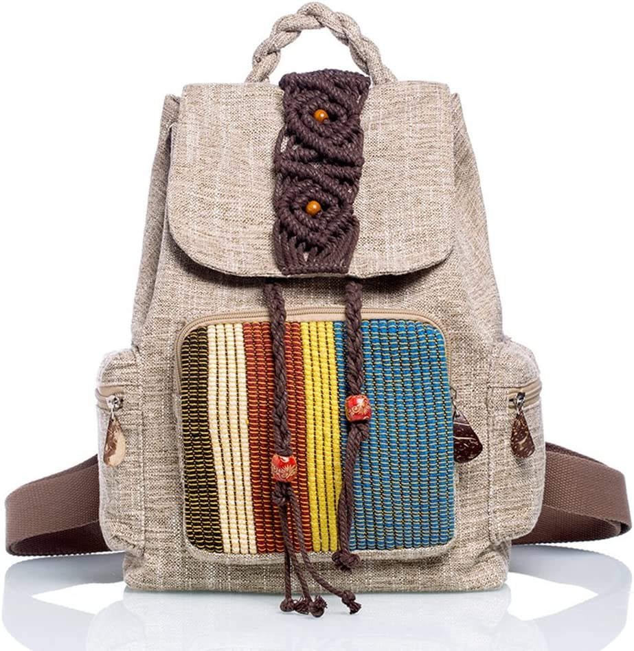 National Style Shoulders Womens Wild Casual Canvas Linen Art Retro Travel Features Backpack