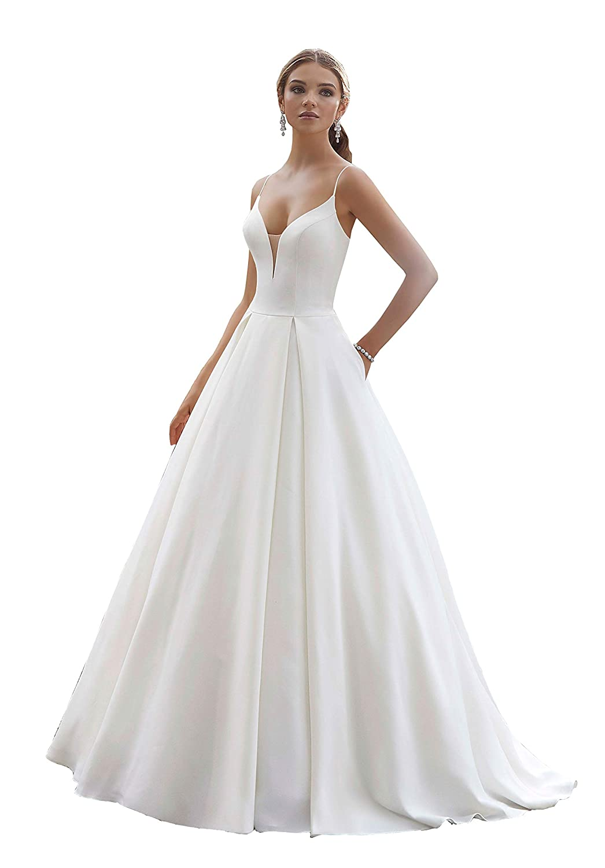 Womens Deep V Neck Satin Ball Gowns Wedding Dresses Bridal Gowns