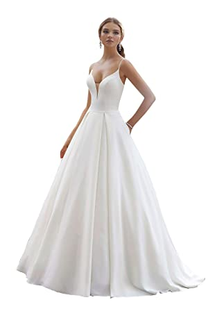 b7bcfdcd5036 Women's Deep V Neck Satin Ball Gowns Wedding Dresses Bridal Gowns Sexy Z12  at Amazon Women's Clothing store: