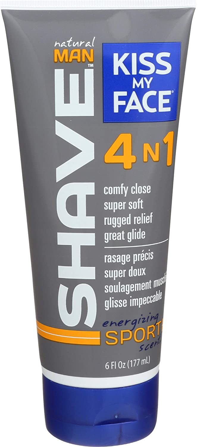 Kiss My Face, Shave 4 In 1 Sport Natural Man, 6 Ounce