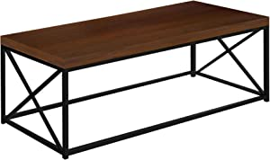 Monarch Brown Wood-Look Finish Black Metal Home Living Room Decor Contemporary Style Accent Coffee Table
