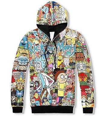 7813ef1d9a9 1Bar Rick and Morty Mens Premium Hoodie Sweatshirt Funny Cartoon 3D Print  Cool Pullover