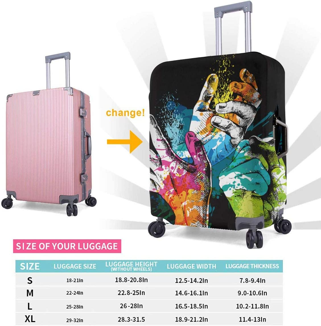 Suitcase Cover Protective Customized Luggage Cover Fits 18-32 Inch Festival Holi with Hands and Bright Paint XL