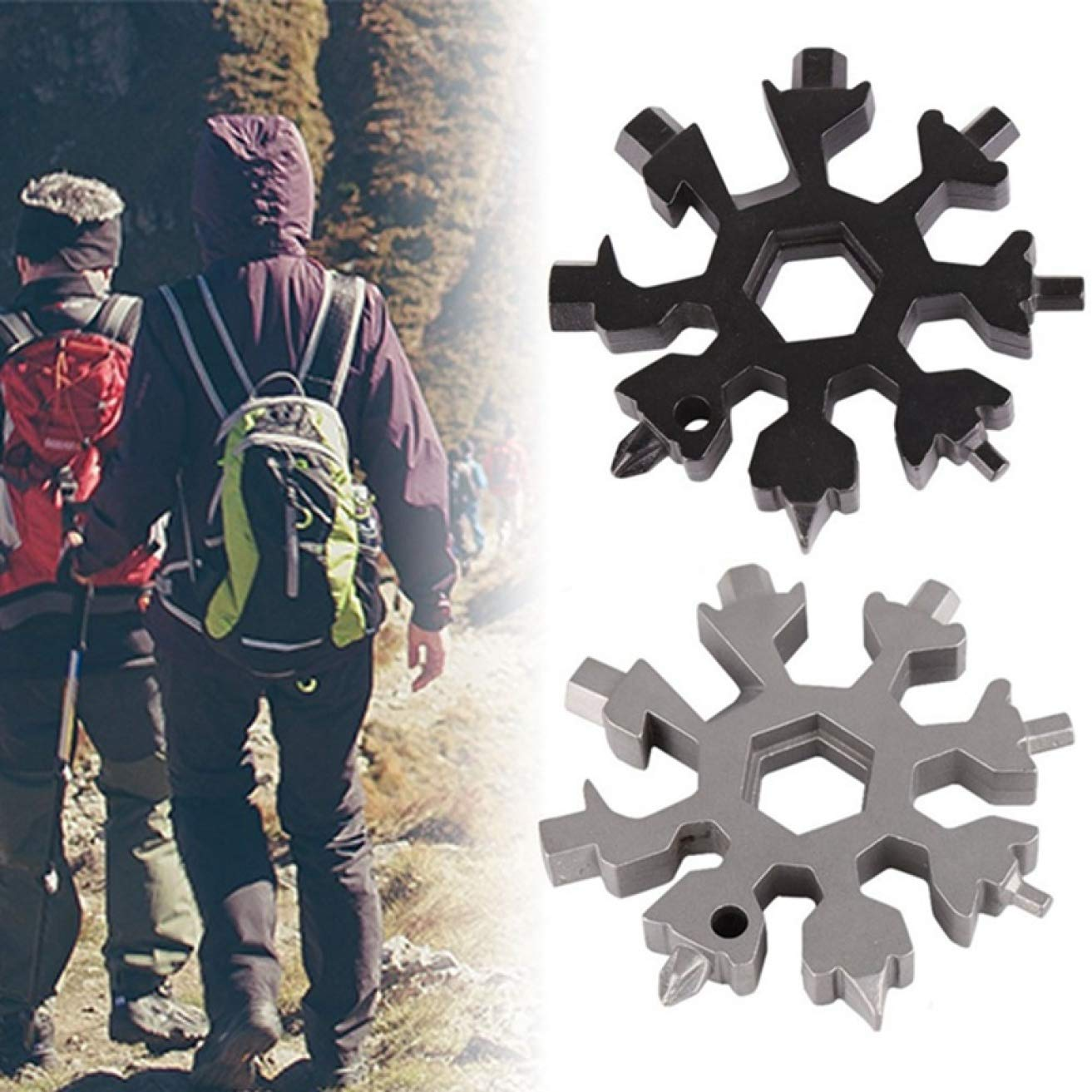 SHengyan satisfying 18-In-1 Multi-Tool Card Snowflake Tool Card Combination Compact And Portable Tool Screwdriver Outdoor Products sweet None black