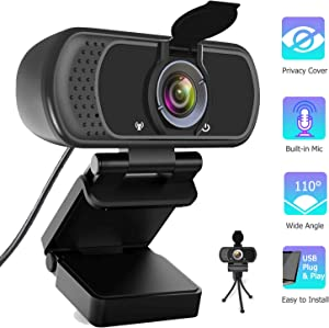 Pro HD Webcam 1080P with Microphone for Desktop, Laptop Computer Web Camera with Privacy Cover and Tripod, 110 Degree Wide Angle USB PC Webcam for MAC Video Conference Chat Recording Streaming