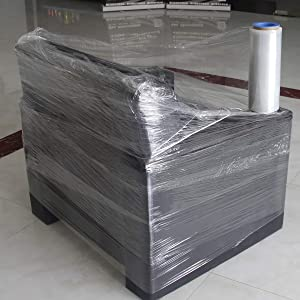Clear Wrap Film 12 inch x 1000ft 80 Guage with 1 Pair of Plastic Hand Saver Industrial Strength Clear Stretch Film Ideal for Moving Packaging Boxes Irregular Objects Pallets