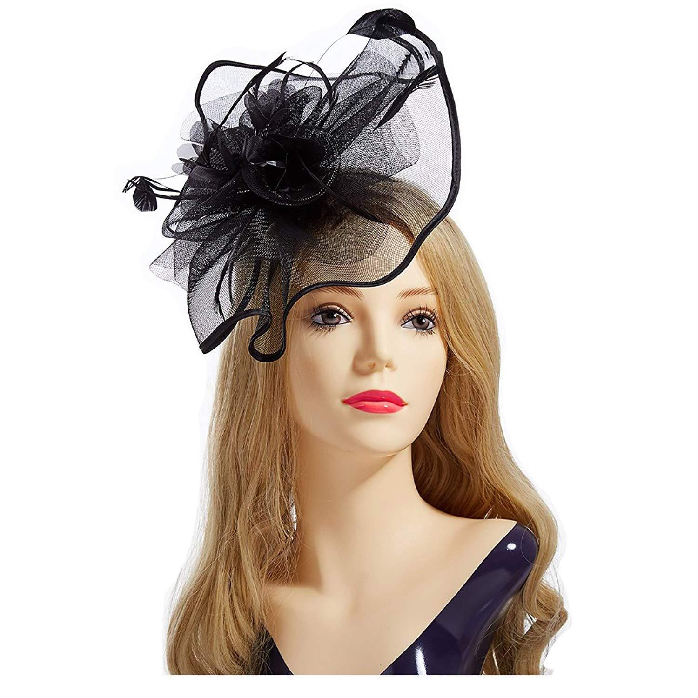 Aiskki Fascinator Hat, Feather Mesh Net Veil Party Hat Flower Derby Hat + Clip +Hairband + Gift Gloves for Women -Black
