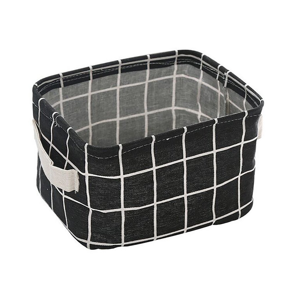 Foldable Storage Bins Basket Cube Containers, E-Scenery Mini Linen Storage Organizers with Strong Handles for Home Closet Office Clothes Shoe Baby Toys, 8 x 6 x 5 inches (Black)
