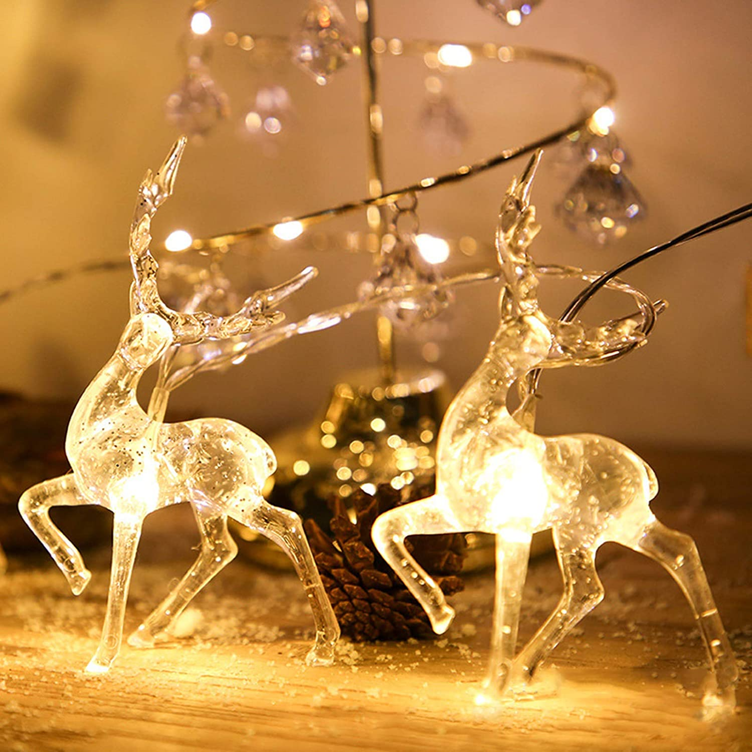 Christmas Lights Reindeer String Lights -10 ft 20 LED Warm White Battery Operated Christmas Decorations for Bedroom Mantel Doorway Tree Tent Indoor Outdoor Thanksgiving Decor (10 ft 20 LED)