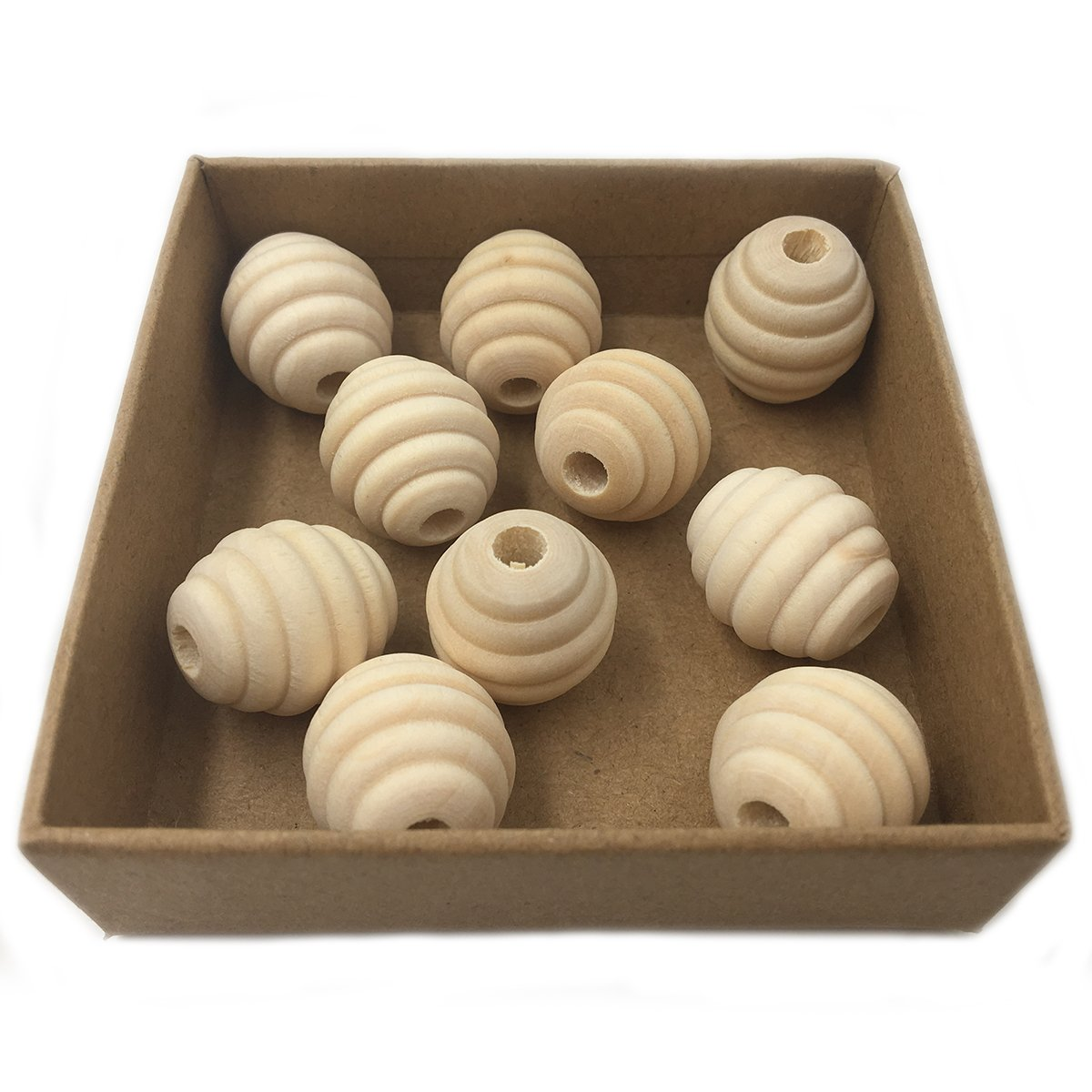 Wendysun 50Pcs Natural Wooden Beads 20mm22mm Geometric Wood Beads Unfinished Spacer Beads Screw Thread Carved Beads