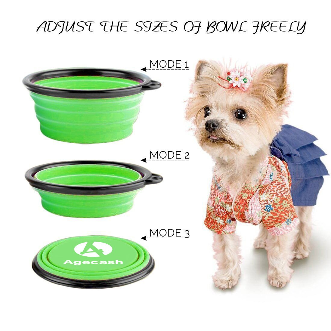 for Dog Cat Bowls-with 6-Color Set Agecash Collapsible Dog Bowl,6 Pack Silicone Portable Travel Dog Bowls with Carabiner Clip