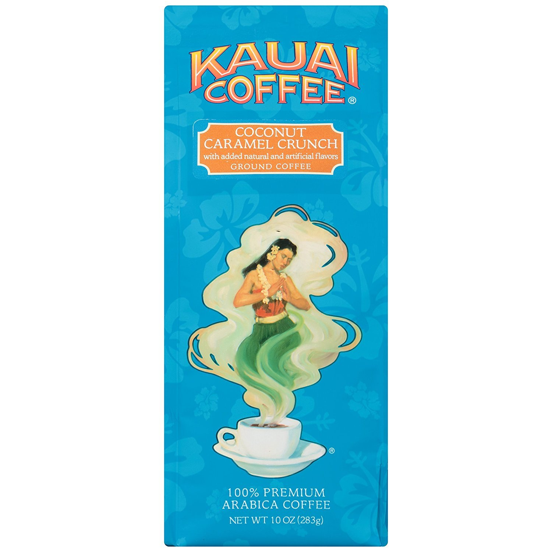 Kauai Coffee, Coconut Caramel Crunch, Ground Coffee, 10oz Bag (Pack of 2)