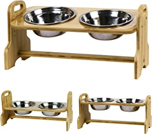 Akinerri Elevated Dog and Cat Pet Feeder, Adjustable Raised Dog Bowls Includes 2 Stainless Steel Bowls. Sturdy Bamboo Elevated Pet Bowls Food Tray Station for Dogs and Cats