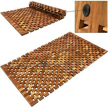 Deuba Tapis de salle de bain   tapis de sol antidérapant en bois d