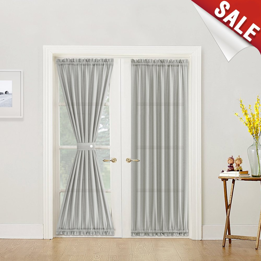 Semi sheer french door curtains 72 inch length casual weave textured privacy french door panel curtains tieback included 1 piece grey