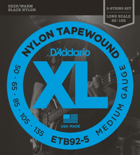 (D'Addario ETB92-5 5-String Tapewound Bass Guitar Strings, Medium, 50-135, Long Scale)