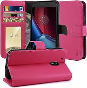 Moto G4 / G4 Plus Case, TAURI [Stand Feature] Wallet Leather Case with Card Pockets Protective Case Flip Cover For Motorola Moto G 4th Generation / Moto G Plus 4th Gen - Hot Pink