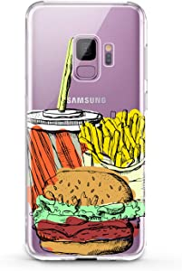 Lex Altern TPU Case Compatible with Samsung Galaxy J8 J7 MAX Prime J6 Plus J5 J4 J3 Smooth Lightweight Potatoes Pattern Kids Slim fit Cola Soft Cover Burger Girl Print Food Design Clear Ladies Tasty