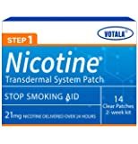Votala Nature Nicotine Patches Step 1, Quit Smoking, 21mg Nicotine Delivered 24 Hours Transdermal System, Stop Smoking…