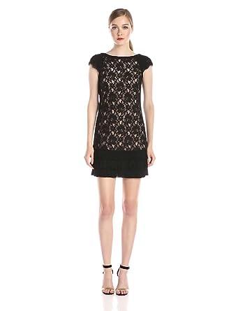 Jessica Simpson Women's Tiered Hem Lace Dress, Black/Nude, 2