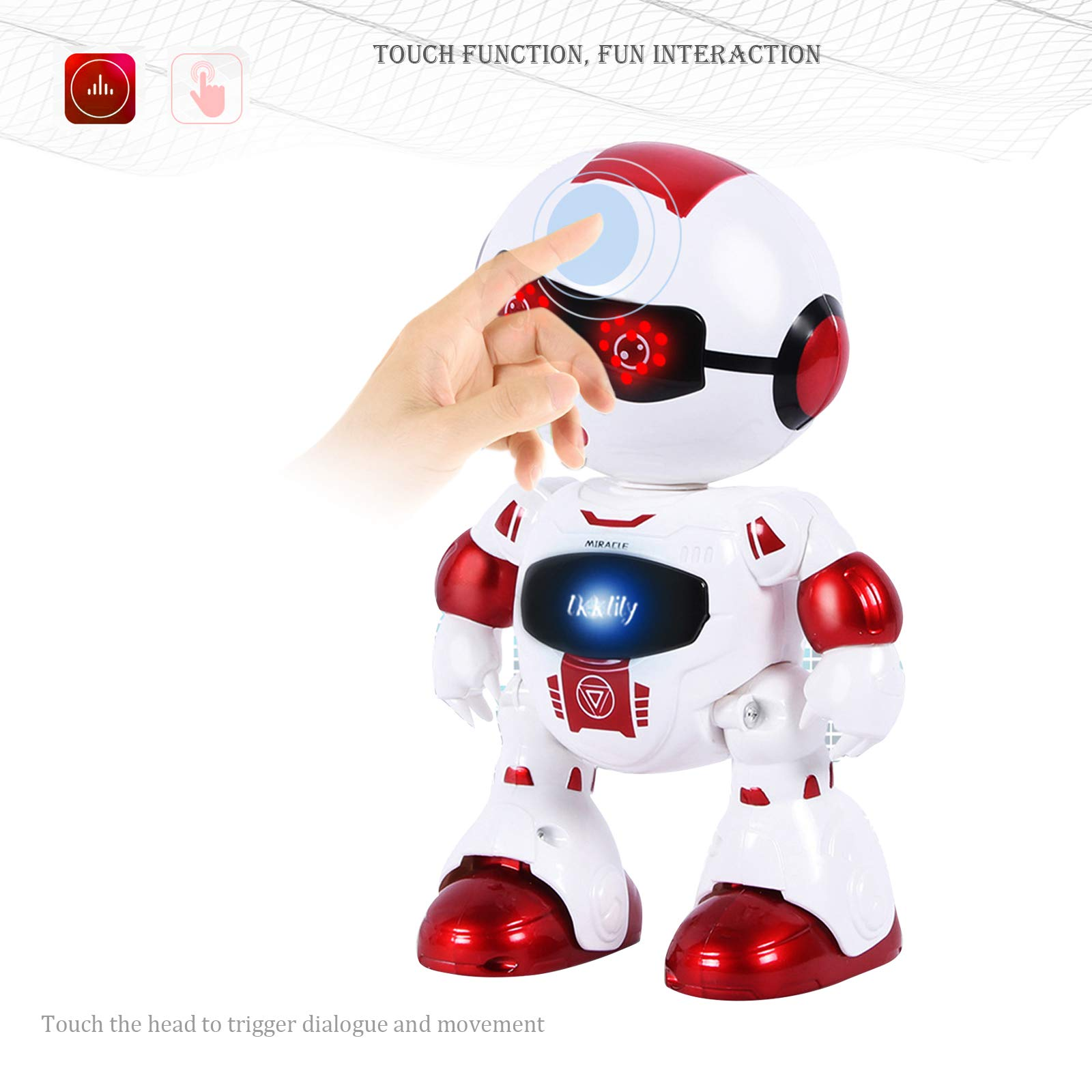 LKKLILY Remote Control Robot with Touch Interaction Music Dance and Lights Remote Toy for Children Kids and Kids Gifts (Red) by LKKLILY (Image #3)