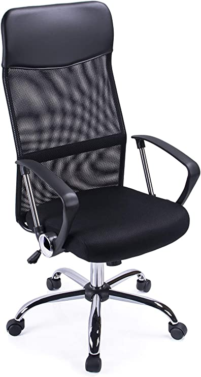 Exofcer High Curved Back Mesh Home Office Chair Executive Computer Height Adjustable Swivel Desk Chair Black Amazon Co Uk Kitchen Home