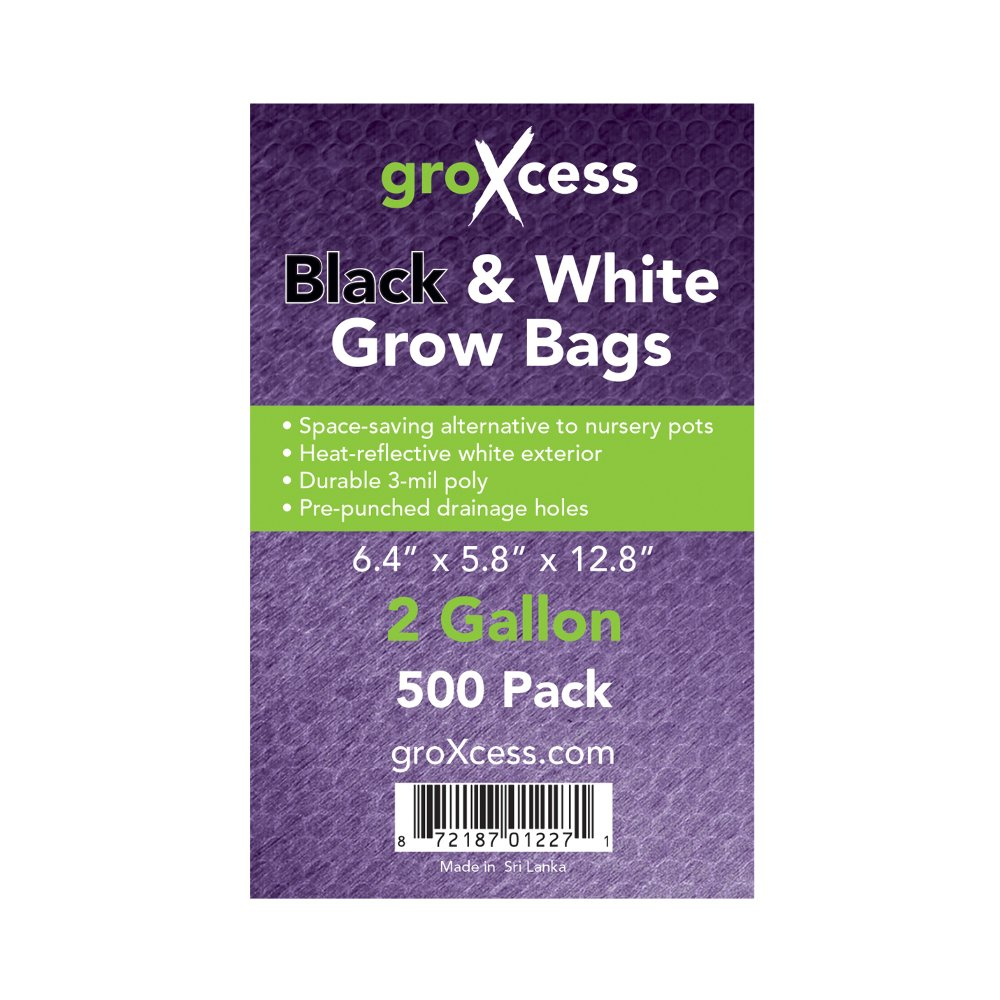 GroXcess Black & White Grow Bags, 500 Pack