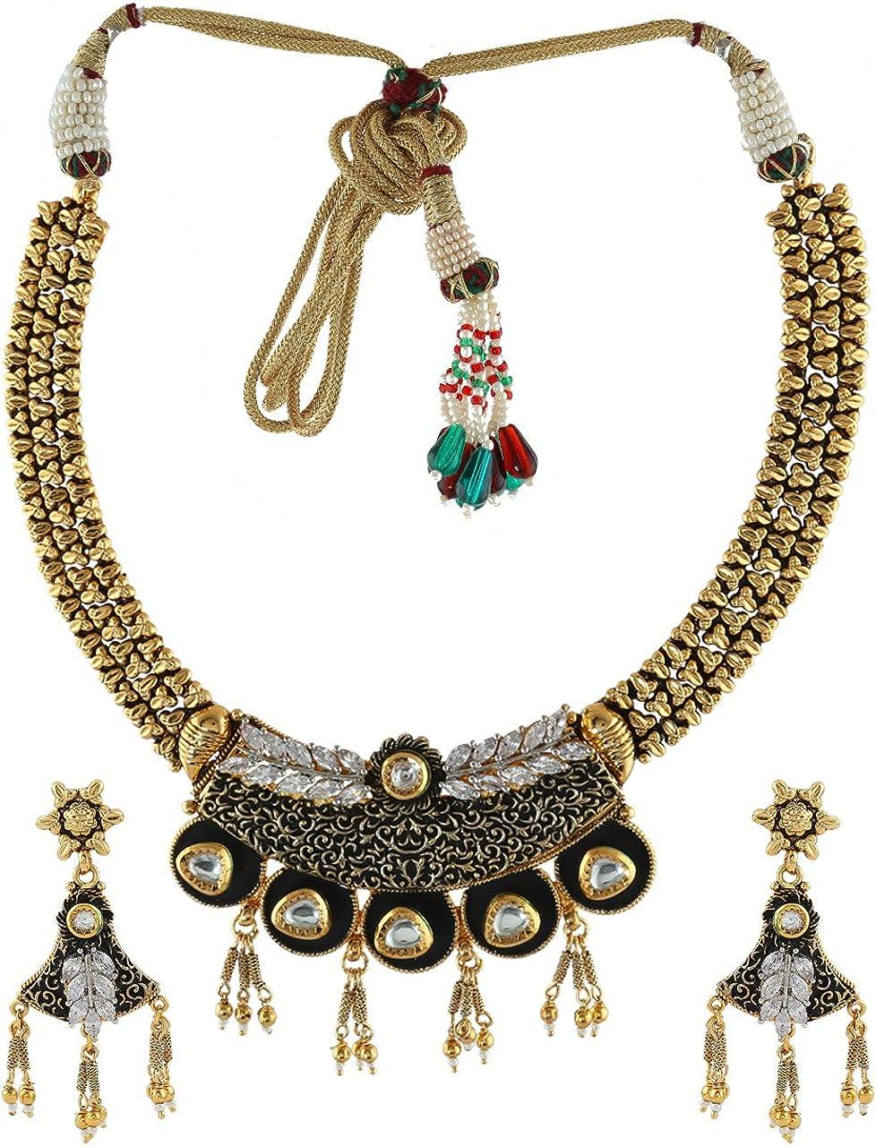 Anuradha Art Golden-Black Colour Designer Classy Traditional Necklace Set For Women//Girls