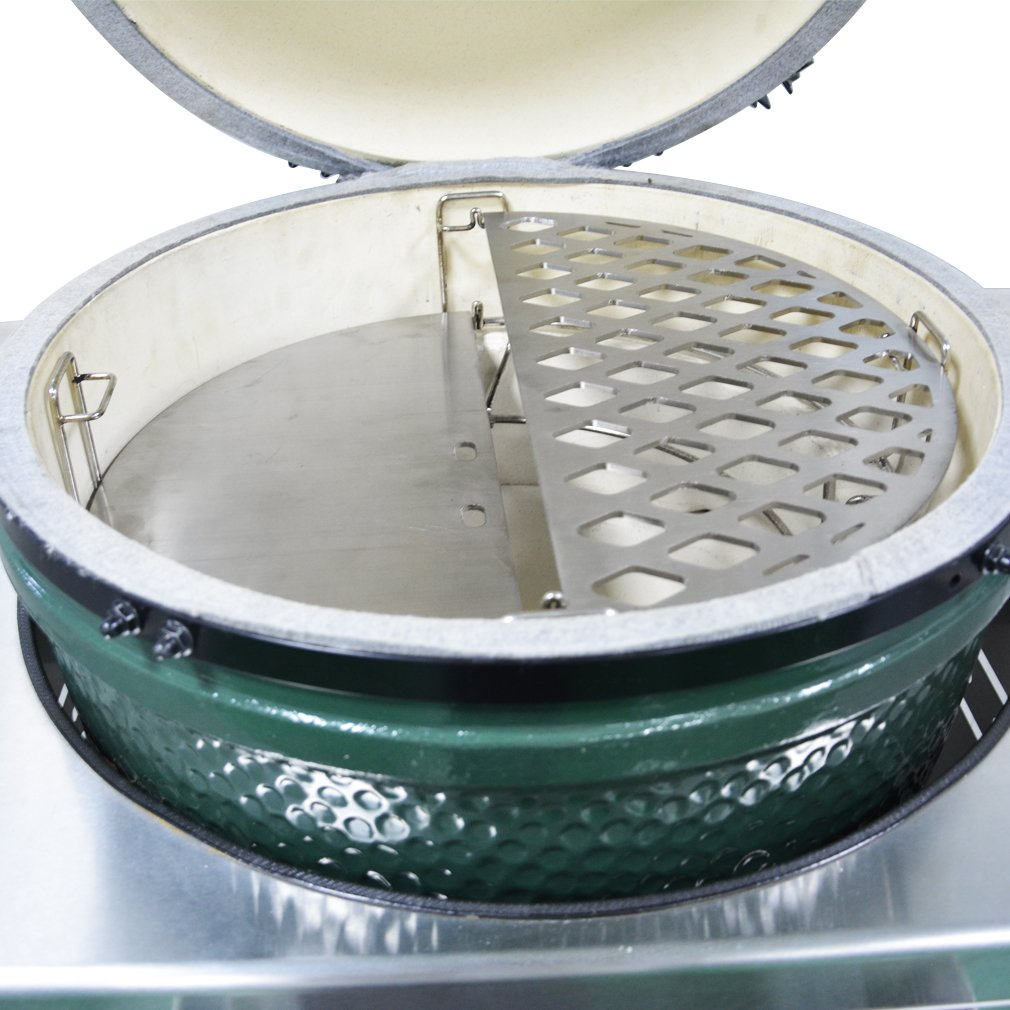 c560e843380ae Amazon.com   Skyflame Half Moon Stainless Steel Reversible Griddle for Large  Big Green Egg, Kamado Joe Classic and Other 18