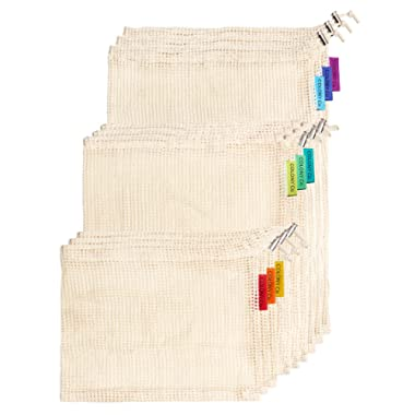 Colony Co. Reusable Produce Bags of Unmatched Quality, Set of 9, Organic Cotton Mesh is Biodegradable, Machine Washable, Tare Weight on Label, Our Packaging is Plastic-free and Recyclable, 3S/3M/3L