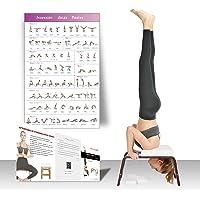 Restrial Life Yoga hoofdstandkruk, yoga-hoofdstandstoel voor thuis en in de sportschool, hout en PU-bekleding…