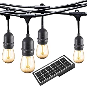 Ashialight Solar LED Outdoor String Lights with Hanging Sockets - Heavy Duty Lights,Waterproof,42Ft 10 Lights LED Bistro/Cafe Lights,Low Voltage,Vintage Edison Bulbs,Commerial Patio String Lights